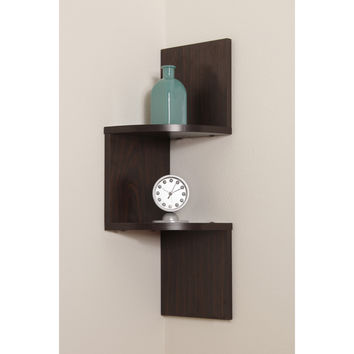 Danya B Laminated corner Shelf in Walnut Finish
