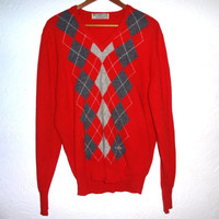 Vintage Burberry Argyle V-Neck Sweater - Red - Large Slim-fit - Burberrys - Lambswool - Scotland -