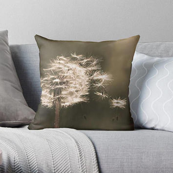 Dandelion sepia photograph decorative pillow cover Photo pillow case Accent pillow Bedroom living room decor Flower photo pillow