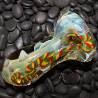 Thick Color Changing Rasta Jellyfish Glass Pipe