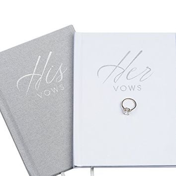 Wedding Vow Book Keepsakes (2 Book Set, His & Hers) Linen Hardcover - Vow Renewal - Bridal Shower Gifts - Booklet - Journal - Future Mrs & Mr