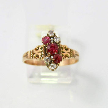 Victorian Ruby Spinel Diamond Ring, 10K Rose Gold Engagement Ring, 1800s Antique Jewelry, Size 7.50, July Birthstone