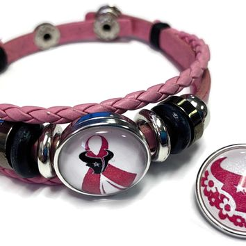 Breast Cancer Awareness NFL Houston Texans Pink Leather Bracelet W/2 Snap Jewelry Charms New Item