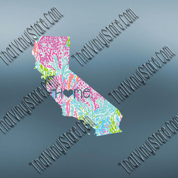 California Heart Home Decal | I Love California Decal | Homestate Decals | Love Sticker | Preppy State Sticker | Preppy State Decal | 045