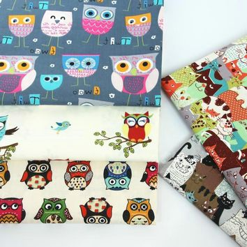Colorful branch owl Print Cotton Fabric Tilda Quilting fabric DIY baby children bedding Patchwork For Sewing Cloth 50*160cm