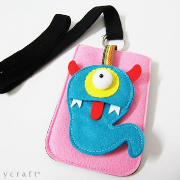 Monster Felt iphone case phone sleeve iPod sleeve phone pocket phone cover phone wallet  with Necklace