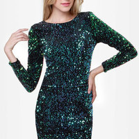 Motel Gabby Black and Green Sequin Dress