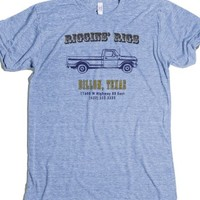 """Riggins' Rigs Of Dillon, Texas - Version 2- Blue T-Shirt 2XL"" 