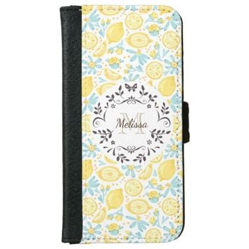 Yellow Lemons & Blue Flowers With Fancy Circle Wallet Phone Case For iPhone 6/6s