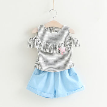 Star Brooch Sets Kids Clothes Pullover Grey Stripes Shirt+Pants 2Pcs Suit