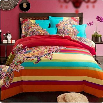 boho/bohemia rainbow stripe bedclothes bedding sets queen king size,sanded quilt/duvet cover winter warm doona bed linen cotton
