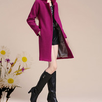 Purple Wool Long coat Cashmere dress coat Large size casual winter coat outwear windbreaker wool dress jacket spring autumn winter coat