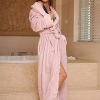 Thicker Long Flannel Sleepwear for Women and Man Imitation Fur Collar Bathrobes Warm Couple Pajamas