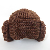 Princess Leia Style Crocheted Baby Hat From Star Wars For Girl Newborn to Adult Photo Prop Baby Hat Halloween / Cosplay
