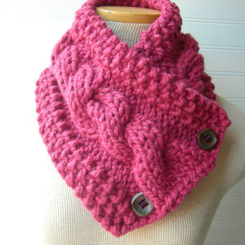 Raspberry Windy City Cowl Scarf / Hipster Style / City Fashion