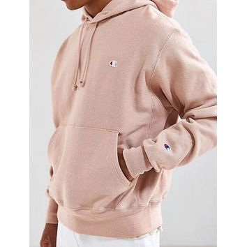 Champion Embroidered hooded hoodie and hoodie pink