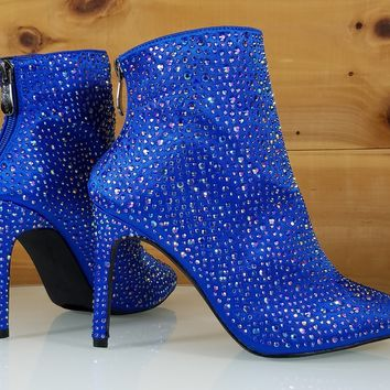 Royal Blue Satin Iridescent Rhinestone High Heel Ankle Boot