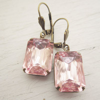Pink Earrings Vintage Dangle Earrings Light Pink Bridal Earrings Rosalyn Pink Glass Estate Style in Rustic Brass
