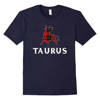 Taurus Pride Scottish Plaid T-shirt Red Tartan