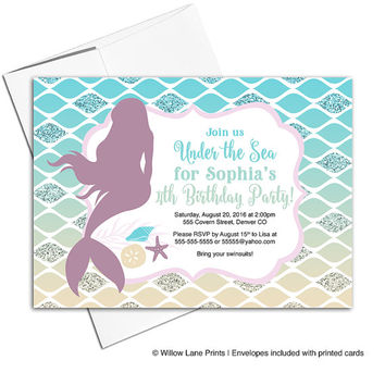 Mermaid birthday invitation for girl | under the sea birthday party invites | girls fourth birthday invites - WLP00325