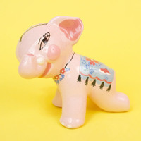 Vintage Winking Drunk Pink Elephant Figurine Circus Kitschy Cute and Retro