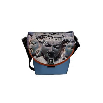 """Reflect"" stone faces statue photo messenger bag"