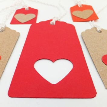Red Gift tags, Heart tags, Gift labels, Hang Tags, Eco-friendly gift tags, Gift wrapping supplies, earth friendly