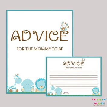 Advice for Mommy to Be Cards and Sign Safari Boy Baby Shower Printable - Instant Download Boy Safari Advice for New Mommy - BS0001-B