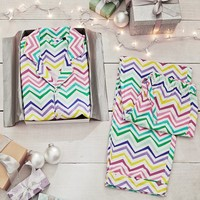 Sweet Dreams Flannel Pajama Set, Color Me Zig Zag