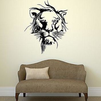 Wall Vinyl Sticker Decal Beautiful Lion Leo Animal Tribal Art Room Unique Gift (ig2058)