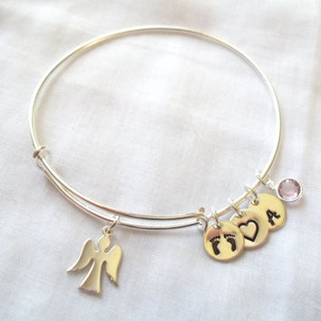 Alex and Ani Style Baby Angel Bracelet -- Guardian Angel, Baby Loss, Memory Bracelet, Mom, Love, Personalized -- MADE TO ORDER