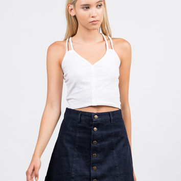 Button Front Denim Skirt - Large