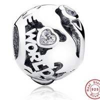 Pure 925 Sterling Silver Around The World, Clear CZ Ball Beads & Charm Fit Original Br