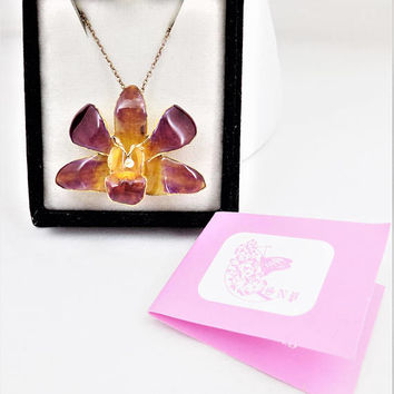 Gold Plated Orchid, 24K Electroplated Flower Necklace, 17 Inch Chain