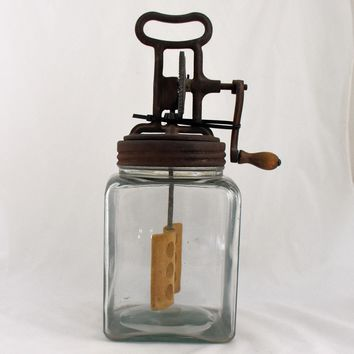 Vintage Butter Churn Square Jar Cast Iron Hand Crank Wood Paddle