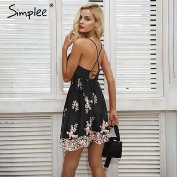 Simplee Sexy mesh embroidery sequin dresses women Elastic strap lace up backless party dress Zipper black mini dress vestidos