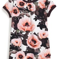 Infant Girl's molo 'Pink Poppies' Short Sleeve Jersey Dress,
