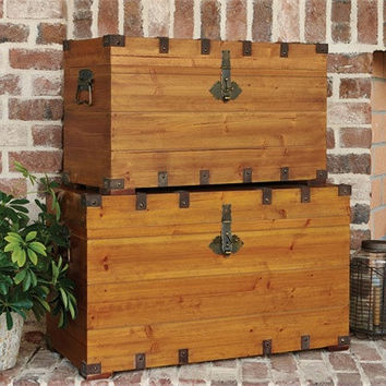 Stackable Wood Storage Trunks - Set of 2