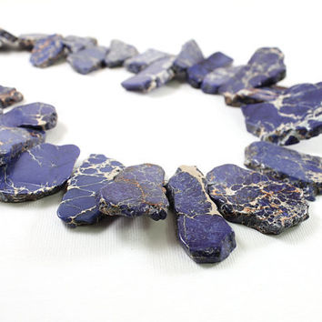 Big stone jewelry blue chunky necklace