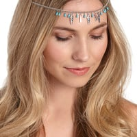 silvertone head chain with beads