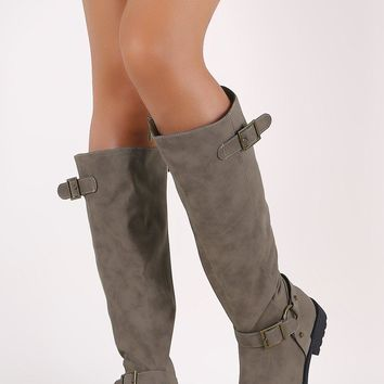 Bamboo Nubuck Buckled Harness Strap Riding Knee High Boots