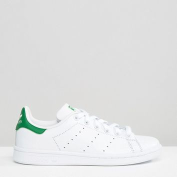 adidas Originals White And Green Stan Smith Sneakers at asos.com