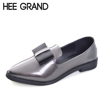 HEE GRAND 2017 New Oxfords Bowtie Platform Shoes Woman Casual Loafers Poined Toe Women Brogue Shoes Slip On Flats XWD5785