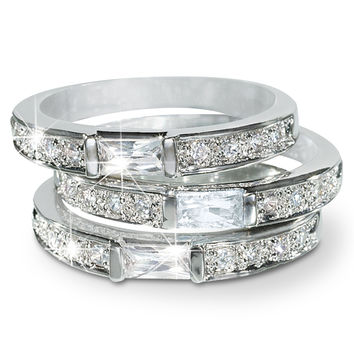 Cubic Zirconia Stackable 3pc Ring Set