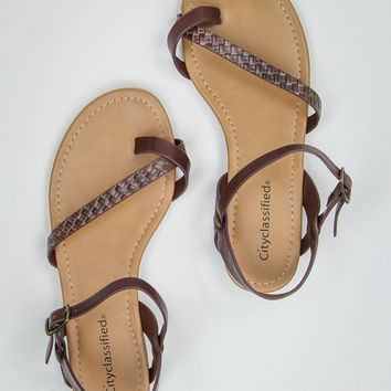 Twisted Up Sandals in Brown