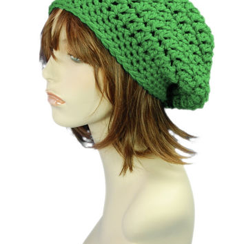 Emerald Green Slouchy Beanie Hat, Chunky Slouchy Hat, Crochet Winter Fashion Accessories