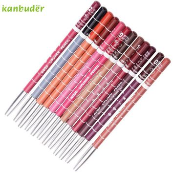 Pretty Kanbuder Good Quality Women Beauty 12pcs Women's Professional Makeup Lipliner Waterproof Lip Liner Pencil Set
