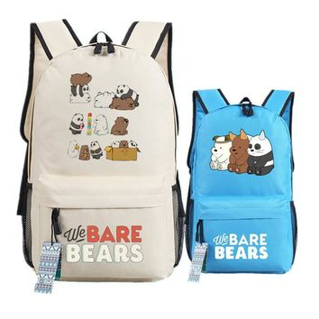 We Bare Bears Printing Backpacks for Teenage Girls Denim Cute Grizzly Panda Ice Bear Canvas School Bag for Kids Boys Teenagers