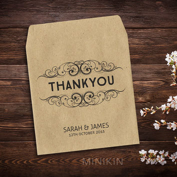 25 x Wedding Favor Envelopes Thank You Seed Packet Bag Favor Personalised Eco Recycled Small Natural Kraft Gift