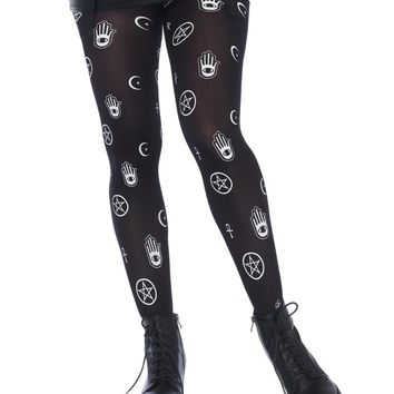 Leg Avenue Female Mystical Symbol Opaque Printed Tights 7741